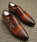 Cap Toe Double Monk Strap Shoe